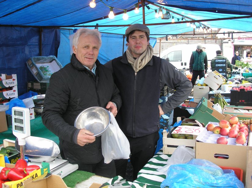 Stallholders Dave and Tyler Bone at their fruit and vegetable stall in Barnet Market