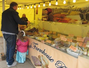 French cheese and cooked meats stall in Barnet Market